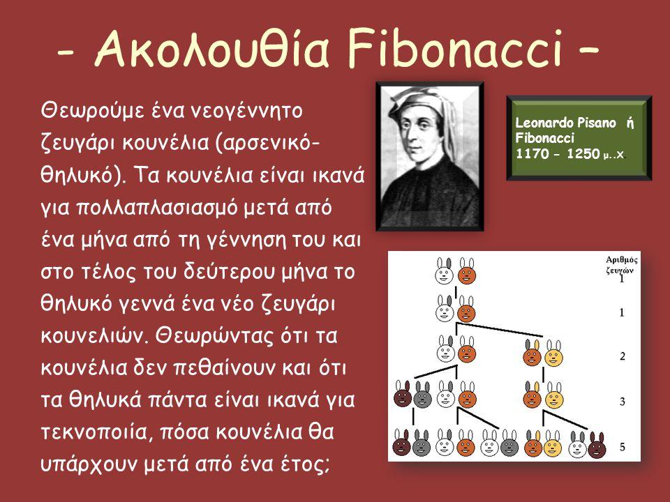 - Ακολουθία Fibonacci – Θεωρούμε ένα νεογέννητο ζευγάρι κουνέλια (αρσενικό- θηλυκό). Τα κουνέλια είναι ικανά για πολλαπλασιασμό μετά από ένα μήνα από