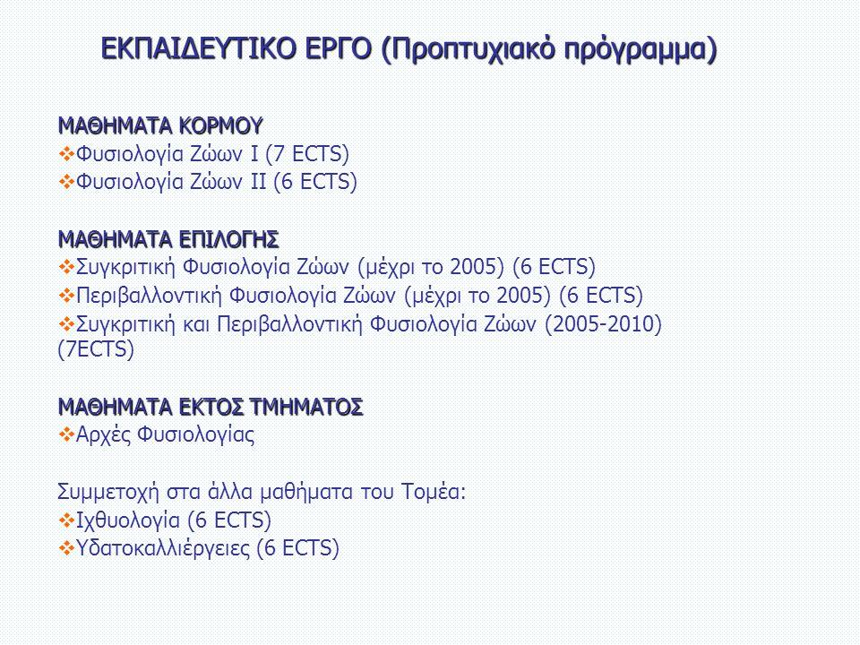 ΕΚΠΑΙΔΕΥΤΙΚΟ ΕΡΓΟ (Προπτυχιακό πρόγραμμα) ΜΑΘΗΜΑΤΑ ΚΟΡΜΟΥ  Φυσιολογία Ζώων Ι (7 ECTS)  Φυσιολογία Ζώων ΙΙ (6 ECTS) ΜΑΘΗΜΑΤΑ ΕΠΙΛΟΓΗΣ  Συγκριτική Φυσιολογία Ζώων (μέχρι το 2005) (6 ECTS)  Περιβαλλοντική Φυσιολογία Ζώων (μέχρι το 2005) (6 ECTS)  Συγκριτική και Περιβαλλοντική Φυσιολογία Ζώων (2005-2010) (7ECTS) ΜΑΘΗΜΑΤΑ ΕΚΤΟΣ ΤΜΗΜΑΤΟΣ  Αρχές Φυσιολογίας Συμμετοχή στα άλλα μαθήματα του Τομέα:  Ιχθυολογία (6 ECTS)  Υδατοκαλλιέργειες (6 ECTS)