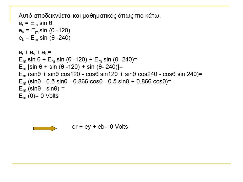 Αυτό αποδεικνύεται και μαθηματικός όπως πιο κάτω. e r = E m sin θ e y = E m sin (θ -120) e b = E m sin (θ -240) e r + e y + e b = E m sin θ + E m sin