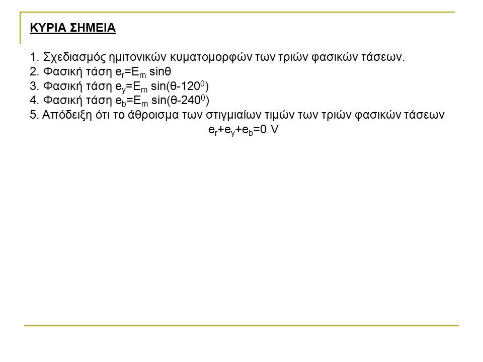 ΚΥΡΙΑ ΣΗΜΕΙΑ 1. Σχεδιασμός ημιτονικών κυματομορφών των τριών φασικών τάσεων. 2. Φασική τάση e r =E m sinθ 3. Φασική τάση e y =E m sin(θ-120 0 ) 4. Φασ