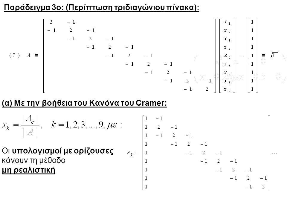 Παράδειγμα 3ο: (Περίπτωση τριδιαγώνιου πίνακα): (α) Με την βοήθεια του Κανόνα του Cramer: Οι υπολογισμοί με ορίζουσες κάνουν τη μέθοδο μη ρεαλιστική
