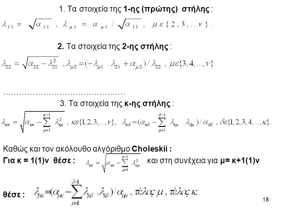 18 1. Τα στοιχεία της 1-ης (πρώτης) στήλης : 2. Τα στοιχεία της 2-ης στήλης : ……………………………………….