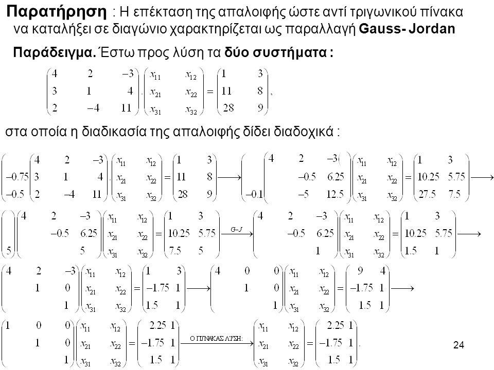 24 Παρατήρηση : Η επέκταση της απαλοιφής ώστε αντί τριγωνικού πίνακα να καταλήξει σε διαγώνιο χαρακτηρίζεται ως παραλλαγή Gauss- Jordan Παράδειγμα.