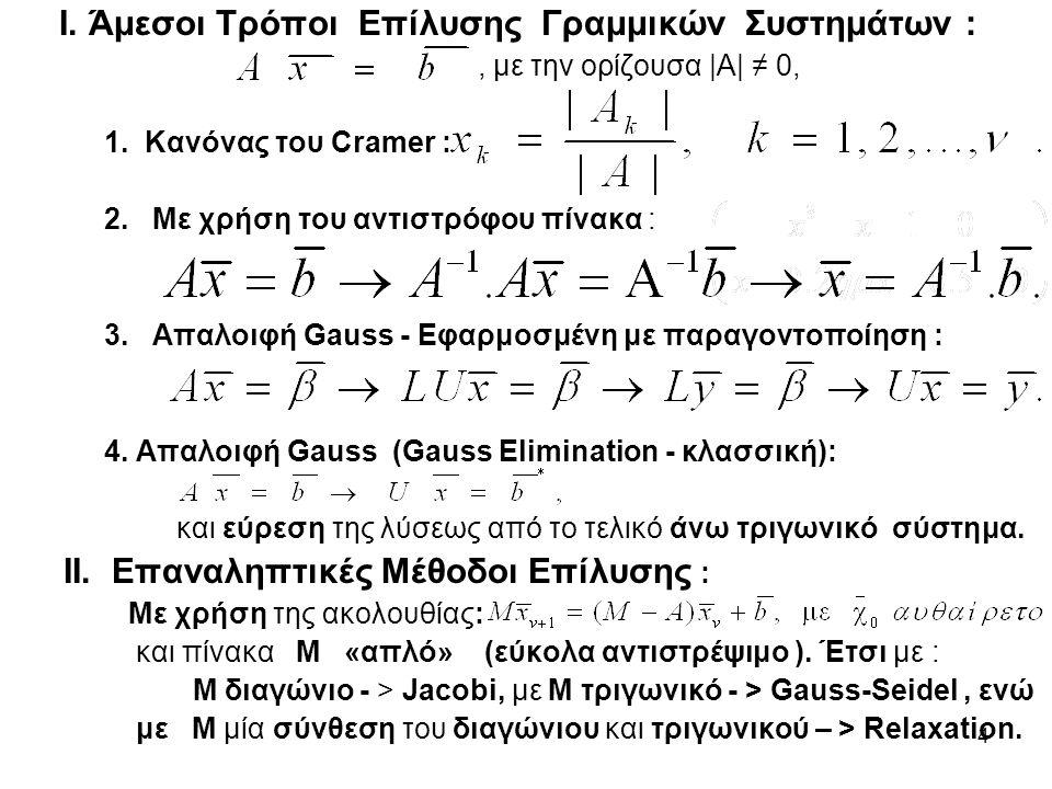 4 Ι. Άμεσοι Τρόποι Επίλυσης Γραμμικών Συστημάτων :, με την ορίζουσα |Α| ≠ 0, 1.