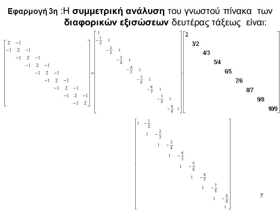 7 Εφαρμογή 3η :Η συμμετρική ανάλυση του γνωστού πίνακα των διαφορικών εξισώσεων δευτέρας τάξεως είναι: