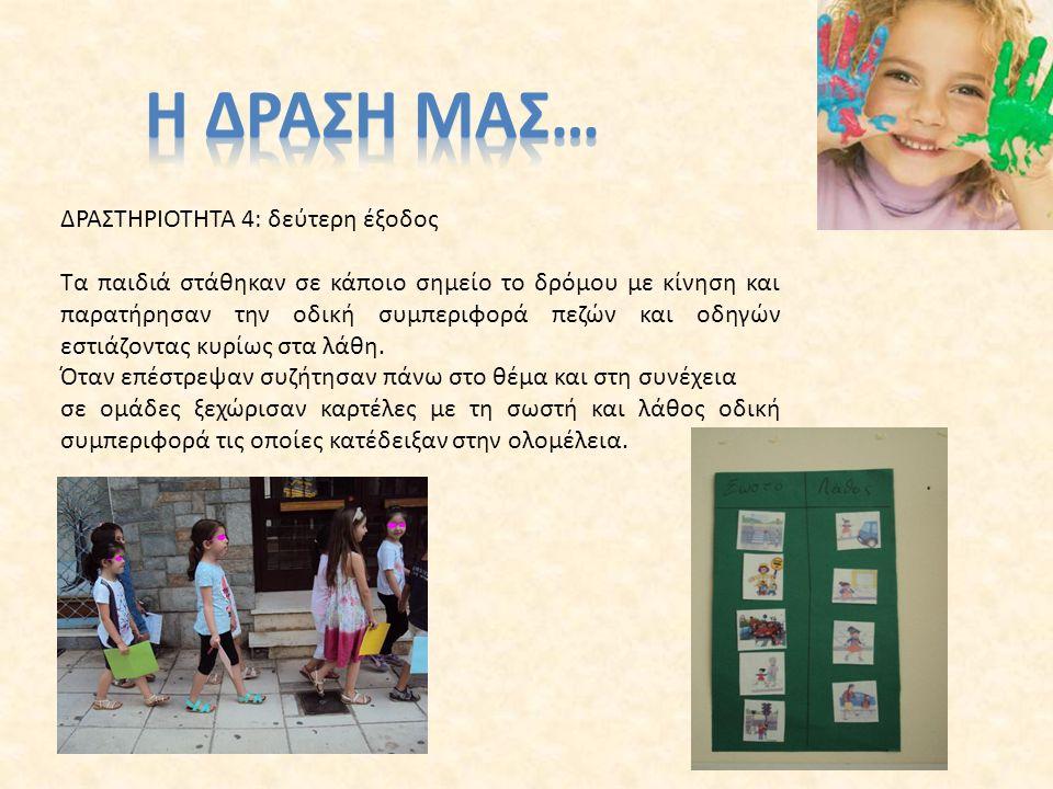 ΔΡΑΣΤΗΡΙΟΤΗΤΑ 5: Κατασκευή σουπλά Τα παιδιά αφού συζήτησαν τους κανόνες σωστής συμπεριφοράς στο δρόμο, κατασκεύασαν σουπλά με τους κανόνες τα οποία χάρισαν στους γονείς τους προκειμένου να γίνουν καλύτεροι πεζοί και οδηγοί.
