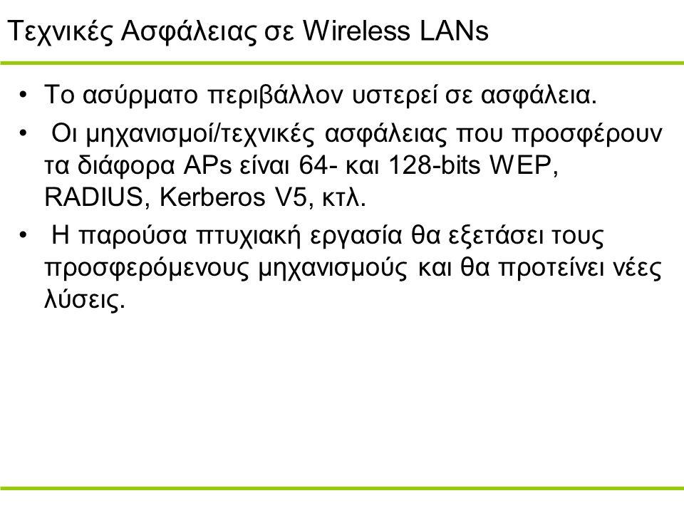 Τεχνικές Ασφάλειας σε Wireless LANs Το ασύρματο περιβάλλον υστερεί σε ασφάλεια.