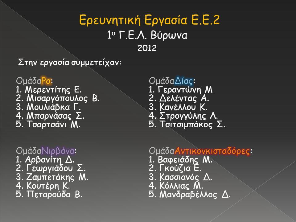 Ερευνητική Εργασία Ε.Ε.2 1 ο Γ.Ε.Λ. Βύρωνα 2012 Στην εργασία συμμετείχαν: