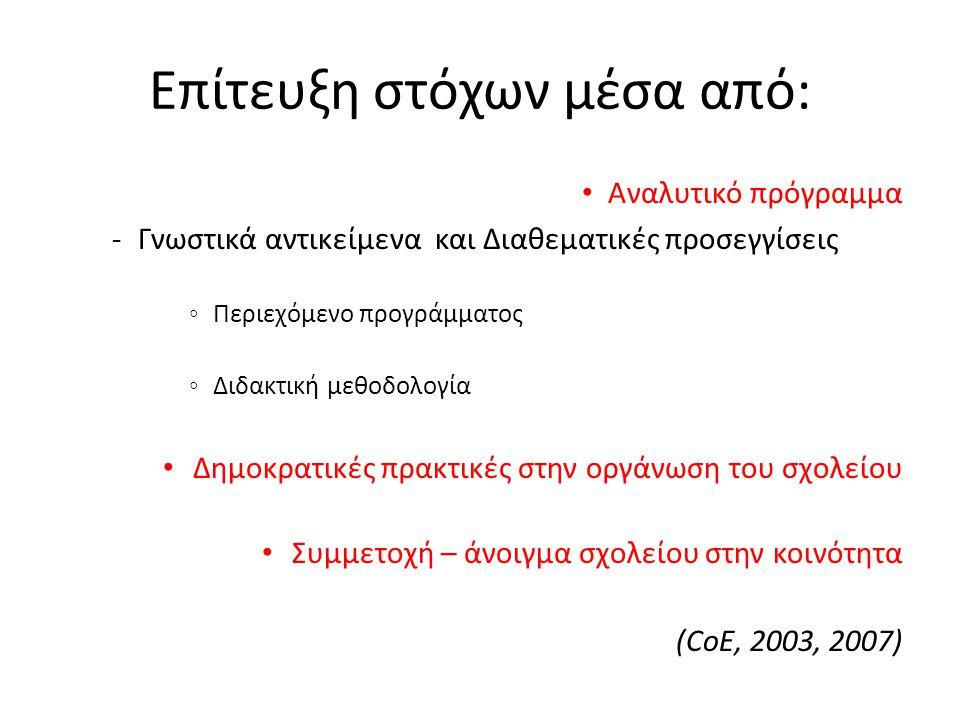 Επίτευξη στόχων μέσα από: Αναλυτικό πρόγραμμα -Γνωστικά αντικείμενα και Διαθεματικές προσεγγίσεις ◦ Περιεχόμενο προγράμματος ◦ Διδακτική μεθοδολογία Δημοκρατικές πρακτικές στην οργάνωση του σχολείου Συμμετοχή – άνοιγμα σχολείου στην κοινότητα (CoE, 2003, 2007)
