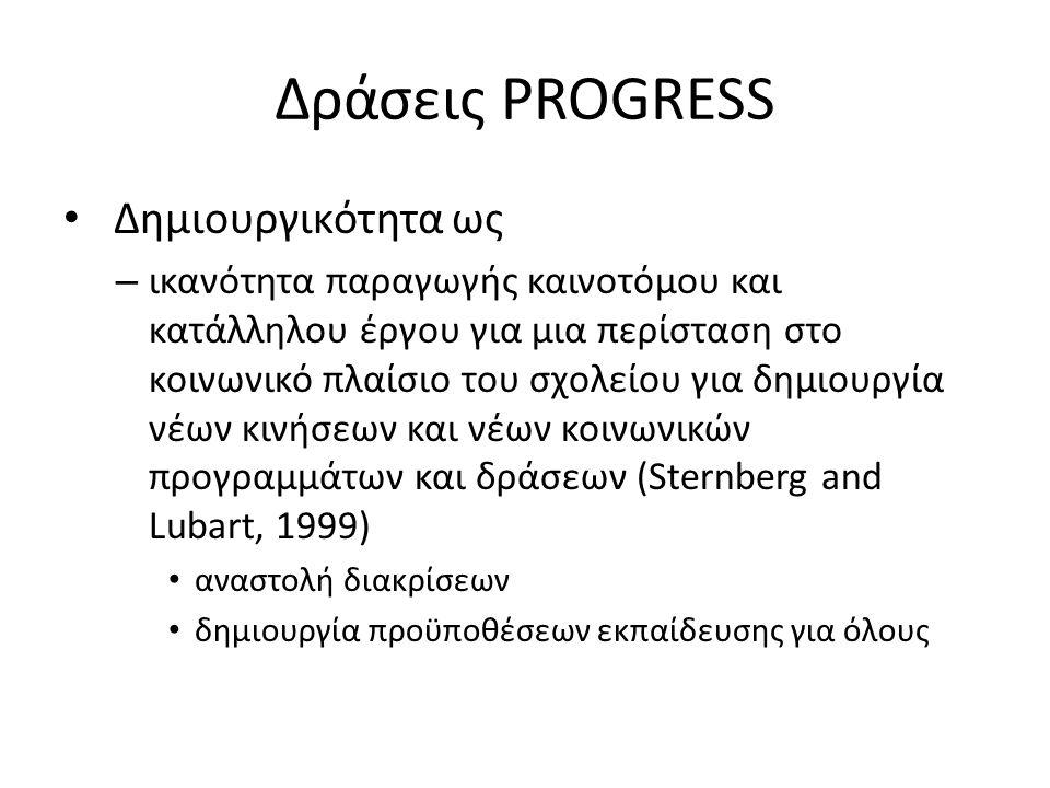 Δράσεις PROGRESS Δημιουργικότητα ως – ικανότητα παραγωγής καινοτόμου και κατάλληλου έργου για μια περίσταση στο κοινωνικό πλαίσιο του σχολείου για δημιουργία νέων κινήσεων και νέων κοινωνικών προγραμμάτων και δράσεων (Sternberg and Lubart, 1999) αναστολή διακρίσεων δημιουργία προϋποθέσεων εκπαίδευσης για όλους