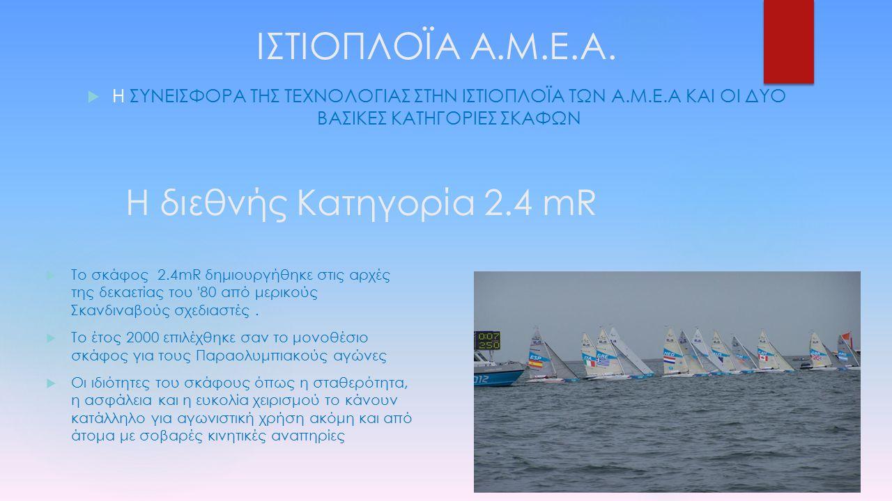 Η διεθνής Κατηγορία 2.4 mR  Το σκάφος 2.4mR δημιουργήθηκε στις αρχές της δεκαετίας του '80 από μερικούς Σκανδιναβούς σχεδιαστές.  Το έτος 2000 επιλέ