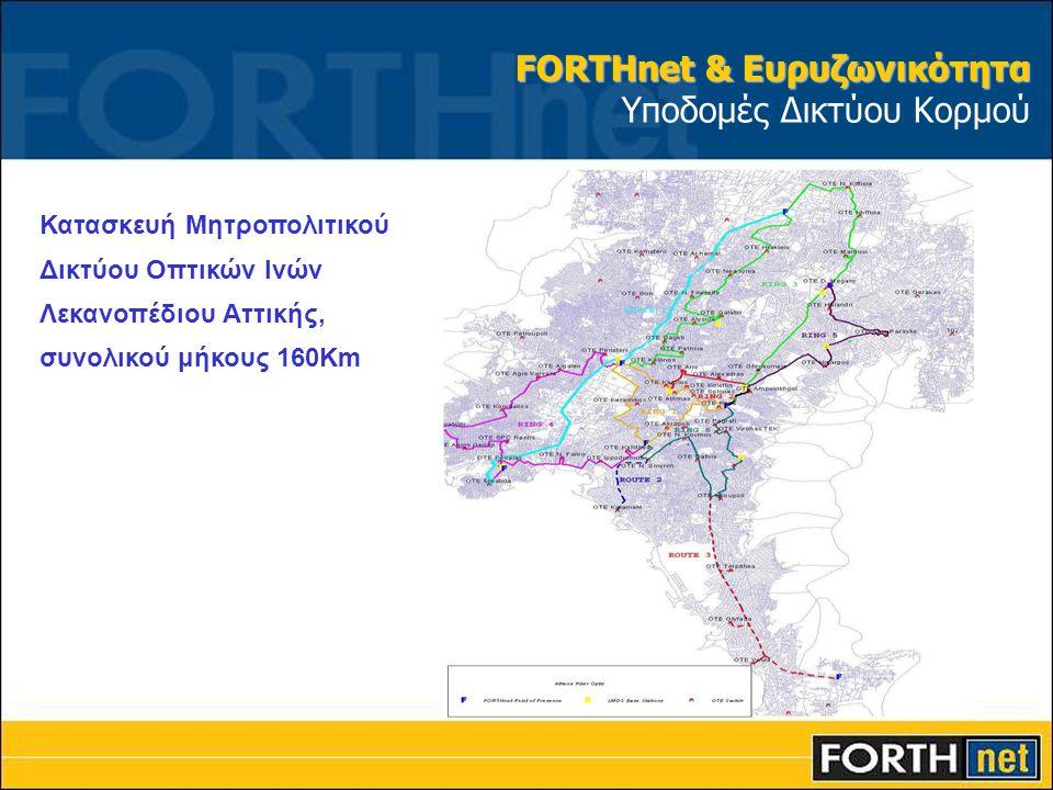 Κατασκευή Μητροπολιτικού Δικτύου Οπτικών Ινών Λεκανοπέδιου Αττικής, συνολικού μήκους 160Km FORTHnet & Ευρυζωνικότητα FORTHnet & Ευρυζωνικότητα Υποδομέ