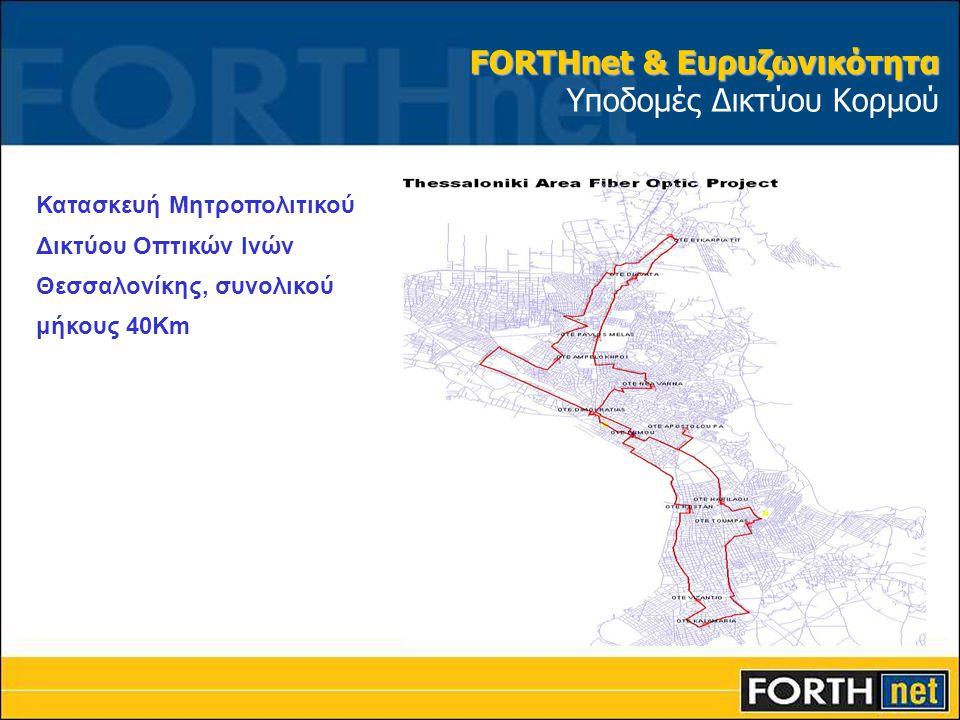 Κατασκευή Μητροπολιτικού Δικτύου Οπτικών Ινών Θεσσαλονίκης, συνολικού μήκους 40Km FORTHnet & Ευρυζωνικότητα FORTHnet & Ευρυζωνικότητα Υποδομές Δικτύου