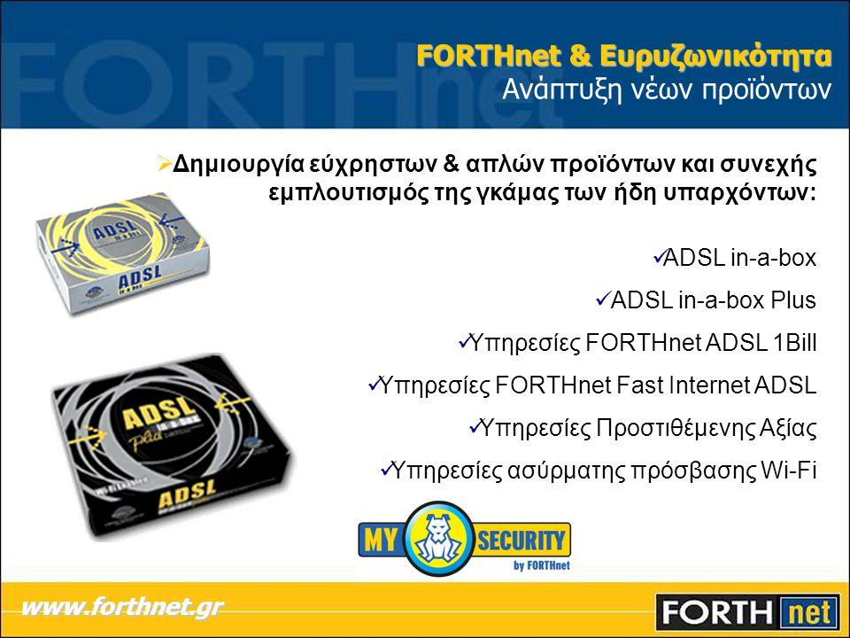  Δημιουργία εύχρηστων & απλών προϊόντων και συνεχής εμπλουτισμός της γκάμας των ήδη υπαρχόντων: ADSL in-a-box ADSL in-a-box Plus Υπηρεσίες FORTHnet A