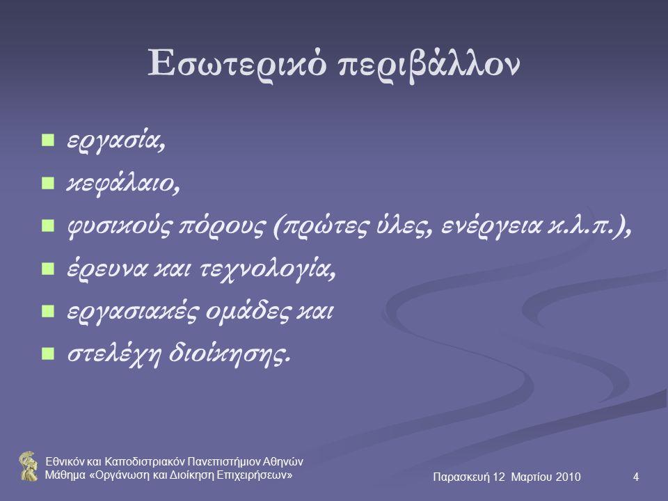Εθνικόν και Καποδιστριακόν Πανεπιστήμιον Αθηνών Μάθημα «Οργάνωση και Διοίκηση Επιχειρήσεων» Παρασκευή 12 Μαρτίου 20104 Εσωτερικό περιβάλλον εργασία, κεφάλαιο, φυσικούς πόρους (πρώτες ύλες, ενέργεια κ.λ.π.), έρευνα και τεχνολογία, εργασιακές ομάδες και στελέχη διοίκησης.