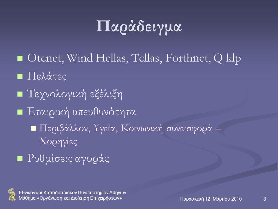 Εθνικόν και Καποδιστριακόν Πανεπιστήμιον Αθηνών Μάθημα «Οργάνωση και Διοίκηση Επιχειρήσεων» Παρασκευή 12 Μαρτίου 20108 Παράδειγμα Otenet, Wind Hellas, Tellas, Forthnet, Q klp Πελάτες Τεχνολογική εξέλιξη Εταιρική υπευθυνότητα Περιβάλλον, Υγεία, Κοινωνική συνεισφορά – Χορηγίες Ρυθμίσεις αγοράς