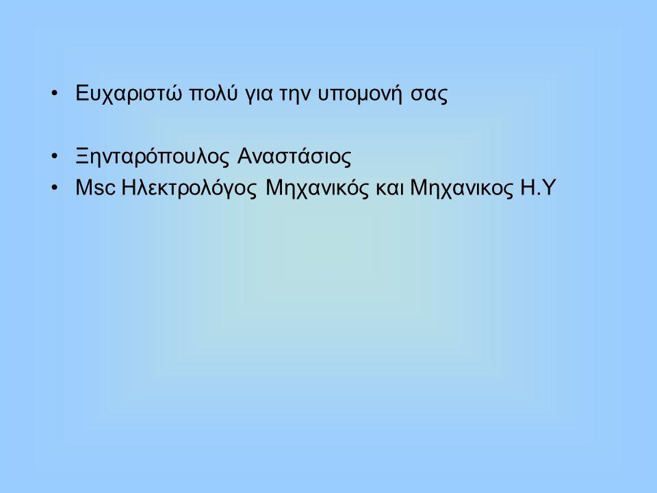 Ευχαριστώ πολύ για την υπομονή σας Ξηνταρόπουλος Αναστάσιος Μsc Ηλεκτρολόγος Μηχανικός και Μηχανικος Η.Υ