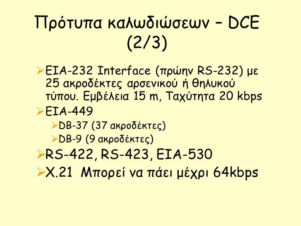 Πρότυπα καλωδιώσεων – DCE (2/3)  EIA-232 Interface (πρώην RS-232) με 25 ακροδέκτες αρσενικού ή θηλυκού τύπου. Εμβέλεια 15 m, Ταχύτητα 20 kbps  ΕΙΑ-4