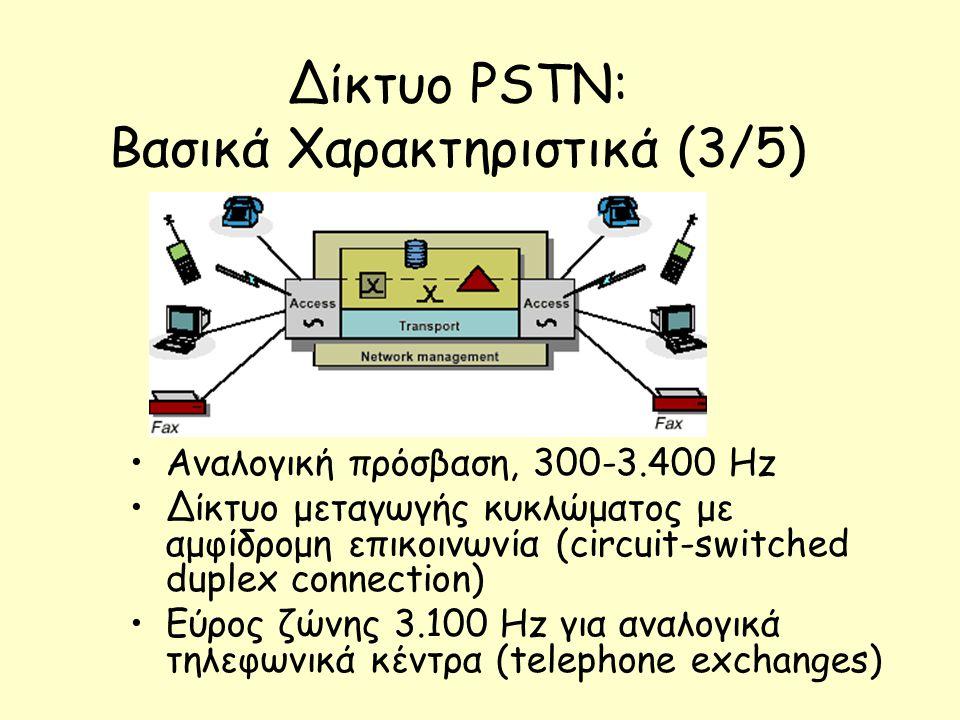 Δίκτυο PSTN: Βασικά Χαρακτηριστικά (3/5) Αναλογική πρόσβαση, 300-3.400 Hz Δίκτυο μεταγωγής κυκλώματος με αμφίδρομη επικοινωνία (circuit-switched duplex connection) Εύρος ζώνης 3.100 Hz για αναλογικά τηλεφωνικά κέντρα (telephone exchanges)