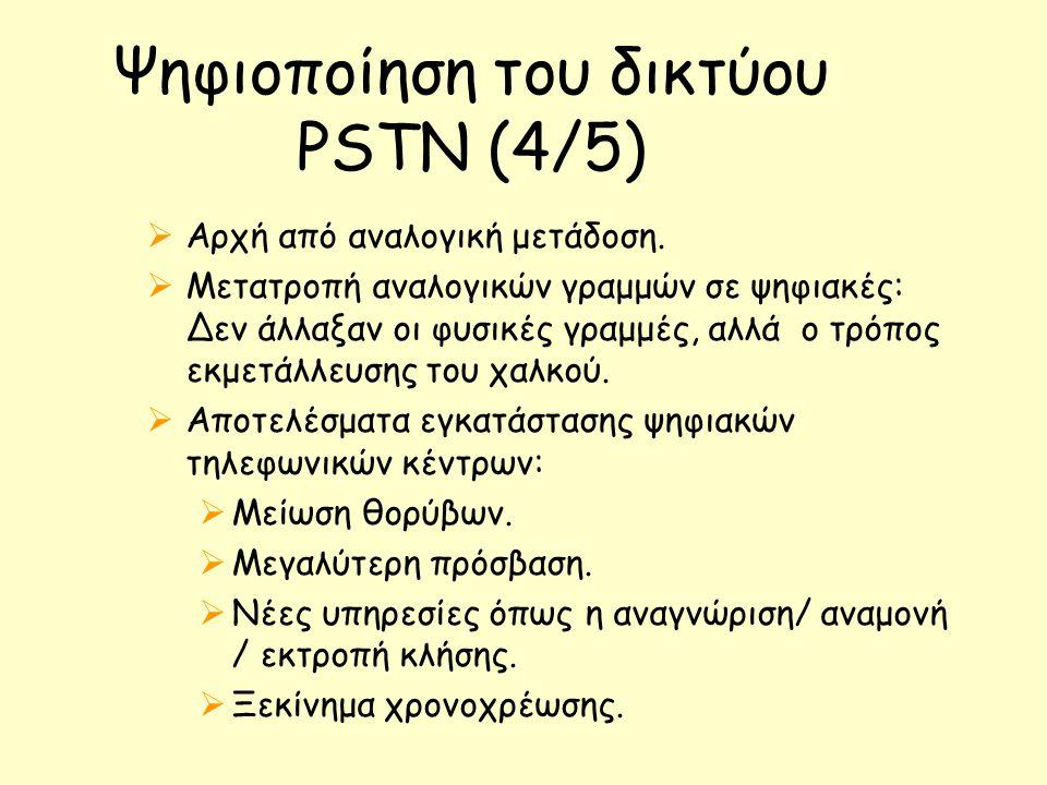 Ψηφιοποίηση του δικτύου PSTN (4/5)  Αρχή από αναλογική μετάδοση.  Μετατροπή αναλογικών γραμμών σε ψηφιακές: Δεν άλλαξαν οι φυσικές γραμμές, αλλά ο τ