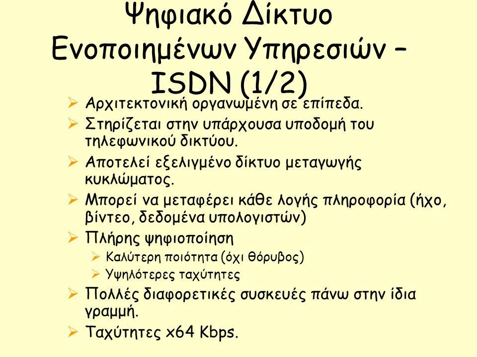 Ψηφιακό Δίκτυο Ενοποιημένων Υπηρεσιών – ISDN (1/2)  Αρχιτεκτονική οργανωμένη σε επίπεδα.  Στηρίζεται στην υπάρχουσα υποδομή του τηλεφωνικού δικτύου.