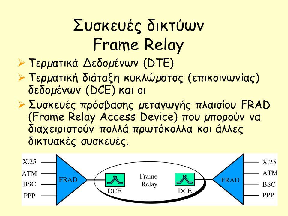 Συσκευές δικτύων Frame Relay  Τερµατικά ∆εδοµένων (DTE)  Τερµατική διάταξη κυκλώµατος (επικοινωνίας) δεδοµένων (DCE) και οι  Συσκευές πρόσβασης µεταγωγής πλαισίου FRAD (Frame Relay Access Device) που µπορούν να διαχειριστούν πολλά πρωτόκολλα και άλλες δικτυακές συσκευές.