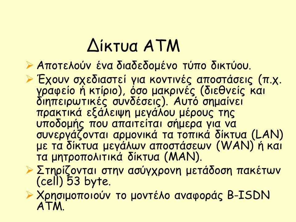 Δίκτυα ATM  Αποτελούν ένα διαδεδομένο τύπο δικτύου.  Έχουν σχεδιαστεί για κοντινές αποστάσεις (π.χ. γραφείο ή κτίριο), όσο μακρινές (διεθνείς και δι