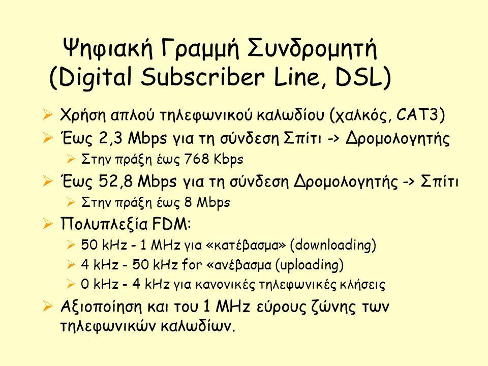 Ψηφιακή Γραμμή Συνδρομητή (Digital Subscriber Line, DSL)  Χρήση απλού τηλεφωνικού καλωδίου (χαλκός, CAT3)  Έως 2,3 Mbps για τη σύνδεση Σπίτι -> Δρομολογητής  Στην πράξη έως 768 Kbps  Έως 52,8 Mbps για τη σύνδεση Δρομολογητής -> Σπίτι  Στην πράξη έως 8 Mbps  Πολυπλεξία FDM:  50 kHz - 1 MHz για «κατέβασμα» (downloading)  4 kHz - 50 kHz for «ανέβασμα (uploading)  0 kHz - 4 kHz για κανονικές τηλεφωνικές κλήσεις  Αξιοποίηση και του 1 MHz εύρους ζώνης των τηλεφωνικών καλωδίων.
