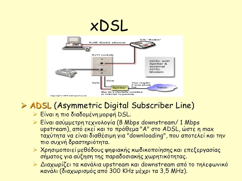 xDSL  ADSL  ADSL (Asymmetric Digital Subscriber Line)  Είναι η πιο διαδομένη μορφή DSL.