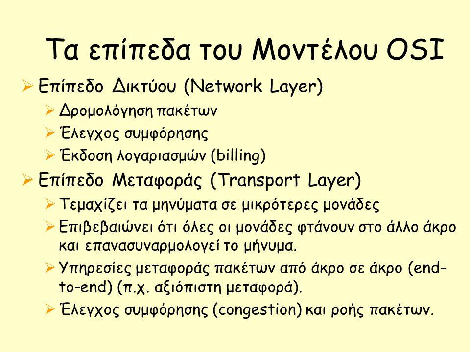 Τα επίπεδα του Μοντέλου OSI  Επίπεδο Δικτύου (Network Layer)  Δρομολόγηση πακέτων  Έλεγχος συμφόρησης  Έκδοση λογαριασμών (billing)  Επίπεδο Μεταφοράς (Transport Layer)  Τεμαχίζει τα μηνύματα σε μικρότερες μονάδες  Επιβεβαιώνει ότι όλες οι μονάδες φτάνουν στο άλλο άκρο και επανασυναρμολογεί το μήνυμα.