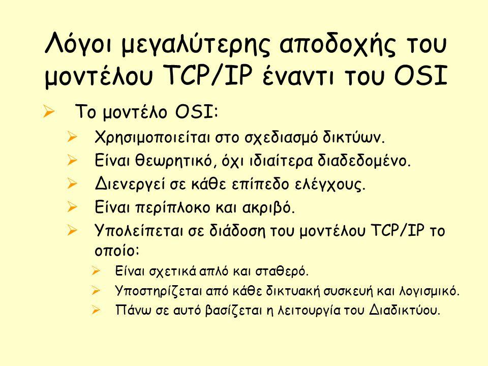 Λόγοι μεγαλύτερης αποδοχής του μοντέλου TCP/IP έναντι του OSI  Το μοντέλο OSI:  Χρησιμοποιείται στο σχεδιασμό δικτύων.  Είναι θεωρητικό, όχι ιδιαίτ