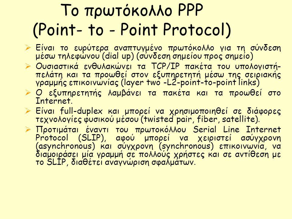 Το πρωτόκολλο PPP (Point- to - Point Protocol)  Είναι το ευρύτερα αναπτυγμένο πρωτόκολλο για τη σύνδεση μέσω τηλεφώνου (dial up) (σύνδεση σημείου προς σημείο)  Ουσιαστικά ενθυλακώνει τα TCP/IP πακέτα του υπολογιστή- πελάτη και τα προωθεί στον εξυπηρετητή μέσω της σειριακής γραμμής επικοινωνίας (layer two -L2-point-to-point links)  Ο εξυπηρετητής λαμβάνει τα πακέτα και τα προωθεί στο Internet.