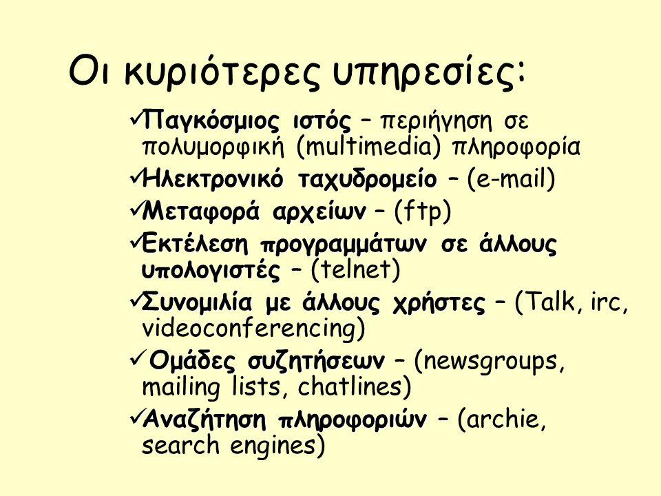 Οι κυριότερες υπηρεσίες: Παγκόσμιος ιστός Παγκόσμιος ιστός – περιήγηση σε πολυμορφική (multimedia) πληροφορία Ηλεκτρονικό ταχυδρομείο Ηλεκτρονικό ταχυδρομείο – (e-mail) Μεταφορά αρχείων Μεταφορά αρχείων – (ftp) Εκτέλεση προγραμμάτων σε άλλους υπολογιστές Εκτέλεση προγραμμάτων σε άλλους υπολογιστές – (telnet) Συνομιλία με άλλους χρήστες Συνομιλία με άλλους χρήστες – (Talk, irc, videoconferencing) Ομάδες συζητήσεων Ομάδες συζητήσεων – (newsgroups, mailing lists, chatlines) Αναζήτηση πληροφοριών Αναζήτηση πληροφοριών – (archie, search engines)