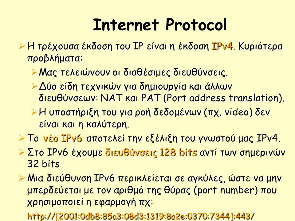Internet Protocol  Η τρέχουσα έκδοση του IP είναι η έκδοση ΙΡν4.
