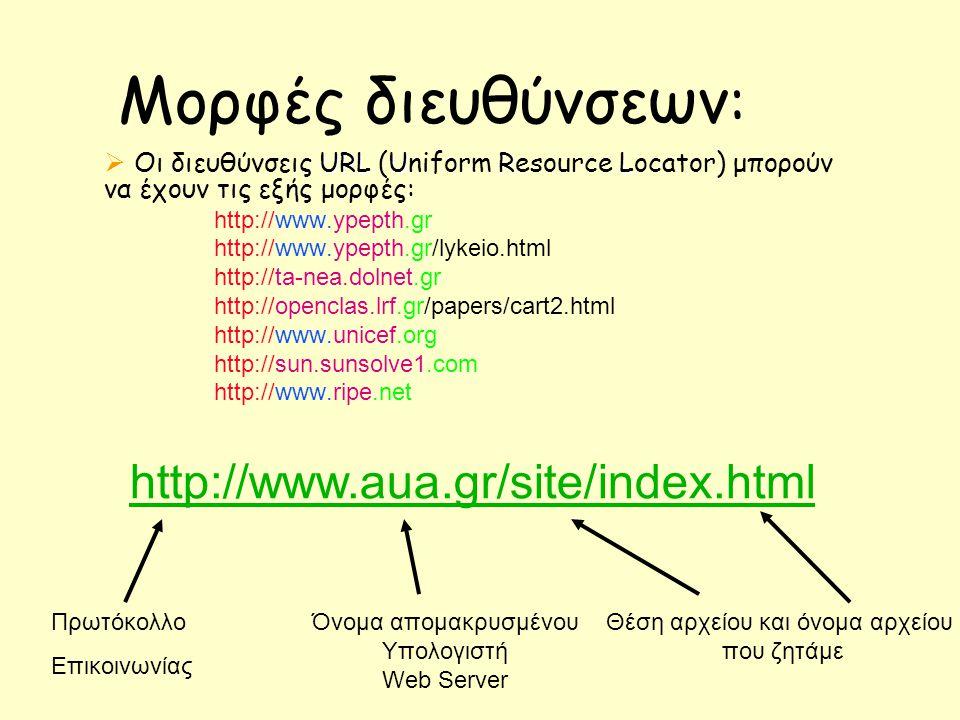 Μορφές διευθύνσεων : URL URL  Οι διευθύνσεις URL (Uniform Resource Locator) μπορούν να έχουν τις εξής μορφές: http://www.ypepth.gr http://www.ypepth.gr/lykeio.html http://ta-nea.dolnet.gr http://openclas.lrf.gr/papers/cart2.html http://www.unicef.org http://sun.sunsolve1.com http://www.ripe.net Πρωτόκολλο Επικοινωνίας Όνομα απομακρυσμένου Υπολογιστή Web Server Θέση αρχείου και όνομα αρχείου που ζητάμε http://www.aua.gr/site/index.html