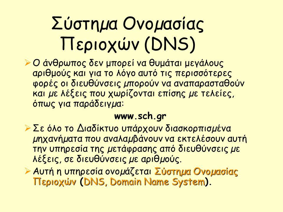 Σύστηµα Ονοµασίας Περιοχών (DNS)  Ο άνθρωπος δεν μπορεί να θυμάται μεγάλους αριθμούς και για το λόγο αυτό τις περισσότερες φορές οι διευθύνσεις µπορούν να αναπαρασταθούν και µε λέξεις που χωρίζονται επίσης µε τελείες, όπως για παράδειγµα: www.sch.gr  Σε όλο το ∆ιαδίκτυο υπάρχουν διασκορπισµένα µηχανήµατα που αναλαµβάνουν να εκτελέσουν αυτή την υπηρεσία της µετάφρασης από διευθύνσεις µε λέξεις, σε διευθύνσεις µε αριθµούς.