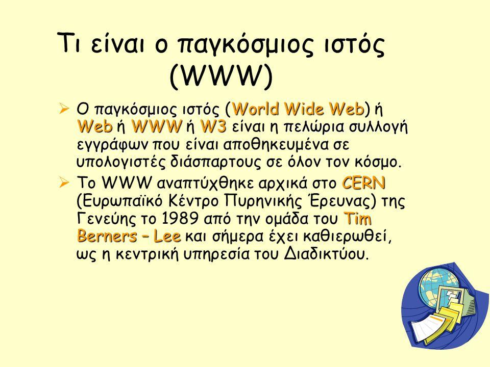 Τι είναι ο παγκόσμιος ιστός (WWW) παγκόσμιος ιστόςWorld Wide Web WebWWWW3 πελώρια συλλογή εγγράφων  O παγκόσμιος ιστός (World Wide Web) ή Web ή WWW ή W3 είναι η πελώρια συλλογή εγγράφων που είναι αποθηκευμένα σε υπολογιστές διάσπαρτους σε όλον τον κόσμο.