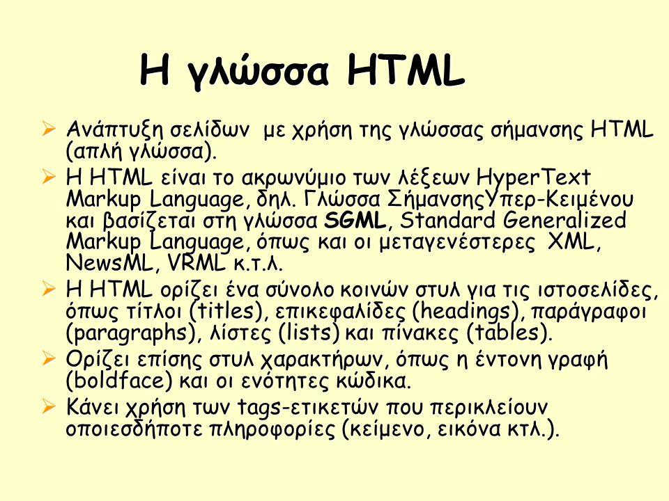 Η γλώσσα HTML  Ανάπτυξη σελίδων με χρήση της γλώσσας σήμανσης HTML (απλή γλώσσα).  Η HTML είναι το ακρωνύμιο των λέξεων HyperText Markup Language, δ