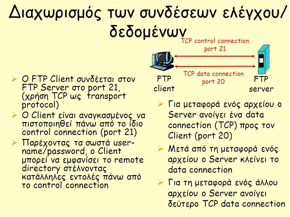 Διαχωρισμός των συνδέσεων ελέγχου/ δεδομένων  O FTP Client συνδέεται στον FTP Server στο port 21, (χρήση TCP ως transport protocol)  Ο Client είναι αναγκασμένος να πιστοποιηθεί πάνω από το ίδιο control connection (port 21)  Παρέχοντας τα σωστά user- name/password, o Client μπορεί να εμφανίσει το remote directory στέλνοντας κατάλληλες εντολές πάνω από το control connection FTP client FTP server TCP control connection port 21 TCP data connection port 20  Για μεταφορά ενός αρχείου ο Server ανοίγει ένα data connection (TCP) προς τον Client (port 20)  Μετά από τη μεταφορά ενός αρχείου ο Server κλείνει το data connection  Για τη μεταφορά ενός άλλου αρχείου ο Server ανοίγει δεύτερο TCP data connection