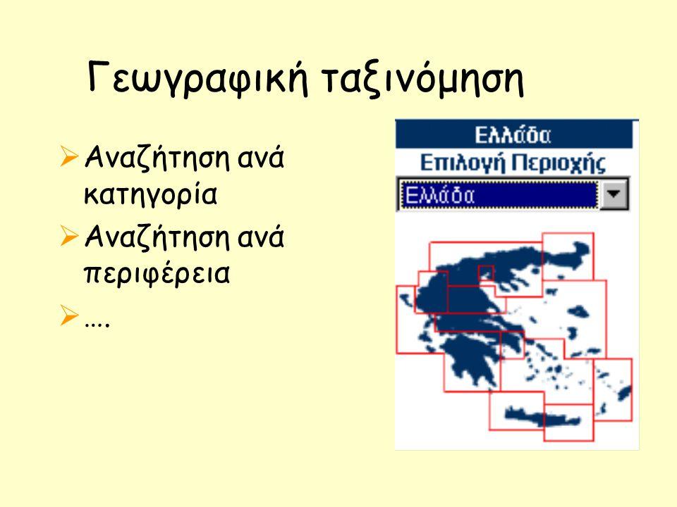 Γεωγραφική ταξινόμηση  Αναζήτηση ανά κατηγορία  Αναζήτηση ανά περιφέρεια  ….