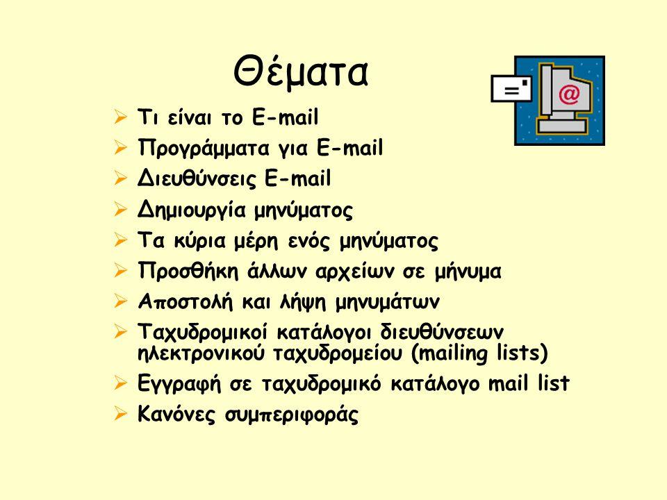 Θέματα  Τι είναι το E-mail  Προγράμματα για E-mail  Διευθύνσεις E-mail  Δημιουργία μηνύματος  Τα κύρια μέρη ενός μηνύματος  Προσθήκη άλλων αρχείων σε μήνυμα  Αποστολή και λήψη μηνυμάτων  Ταχυδρομικοί κατάλογοι διευθύνσεων ηλεκτρονικού ταχυδρομείου (mailing lists)  Εγγραφή σε ταχυδρομικό κατάλογο mail list  Κανόνες συμπεριφοράς