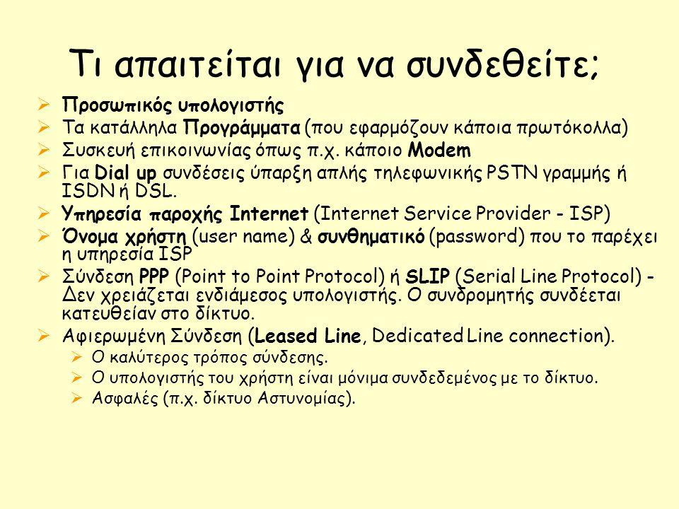Τι απαιτείται για να συνδεθείτε;  Προσωπικός υπολογιστής  Τα κατάλληλα Προγράμματα (που εφαρμόζουν κάποια πρωτόκολλα)  Συσκευή επικοινωνίας όπως π.χ.