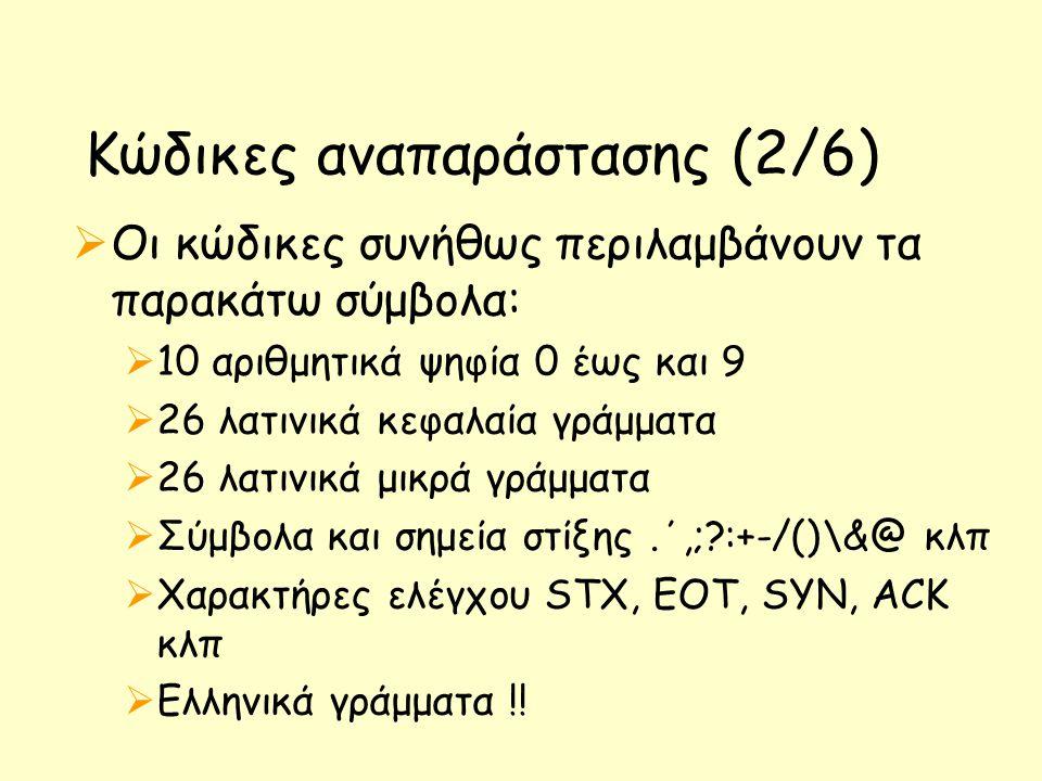 Κώδικες αναπαράστασης (2/6)  Οι κώδικες συνήθως περιλαμβάνουν τα παρακάτω σύμβολα:  10 αριθμητικά ψηφία 0 έως και 9  26 λατινικά κεφαλαία γράμματα  26 λατινικά μικρά γράμματα  Σύμβολα και σημεία στίξης.΄,;?:+-/()\&@ κλπ  Χαρακτήρες ελέγχου STX, EOT, SYN, ACK κλπ  Ελληνικά γράμματα !!