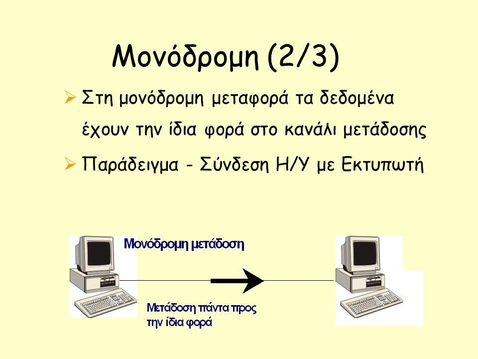 Μονόδρομη (2/3)  Στη μονόδρομη μεταφορά τα δεδομένα έχουν την ίδια φορά στο κανάλι μετάδοσης  Παράδειγμα - Σύνδεση Η/Υ με Εκτυπωτή
