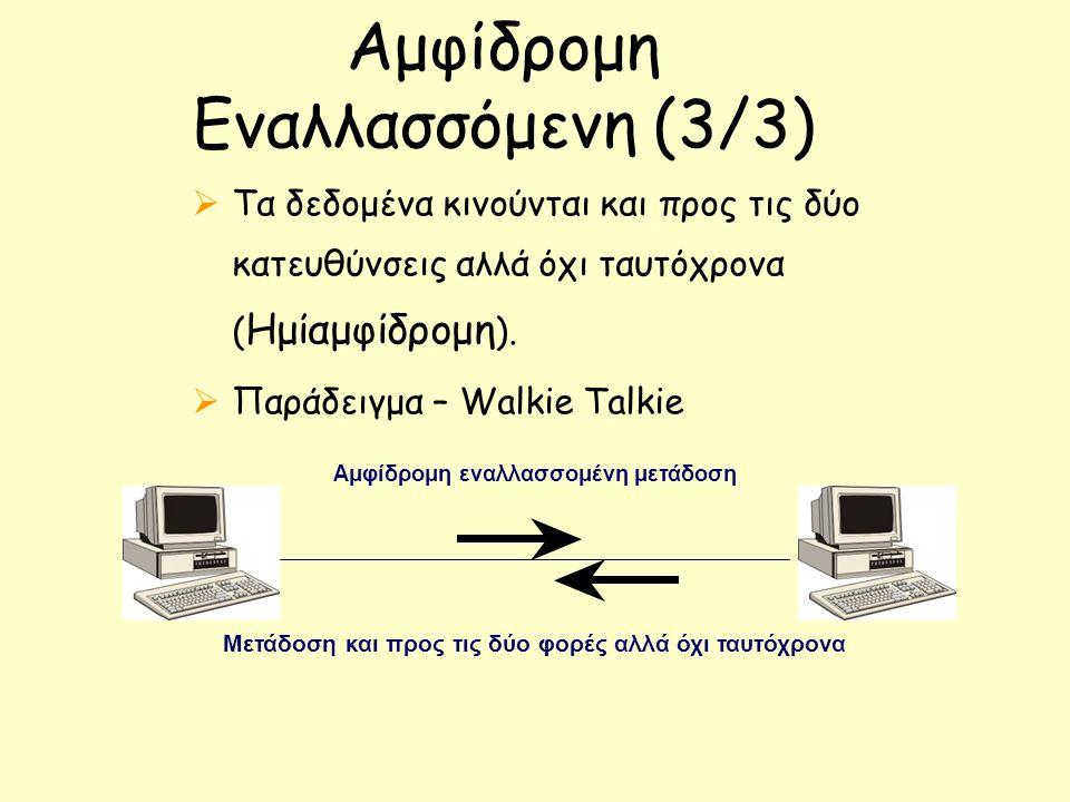 Αμφίδρομη Εναλλασσόμενη (3/3)  Τα δεδομένα κινούνται και προς τις δύο κατευθύνσεις αλλά όχι ταυτόχρονα ( Ημίαμφίδρομη ).  Παράδειγμα – Walkie Talkie