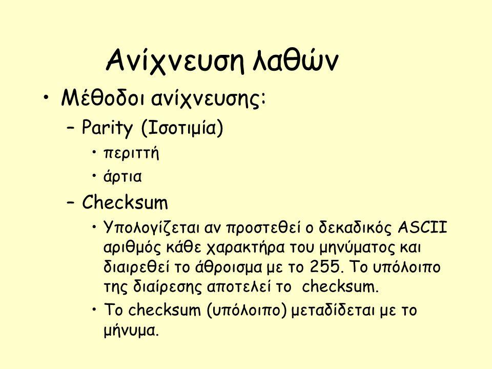 Ανίχνευση λαθών Μέθοδοι ανίχνευσης: –Parity (Ισοτιμία) περιττή άρτια –Checksum Υπολογίζεται αν προστεθεί ο δεκαδικός ASCII αριθμός κάθε χαρακτήρα του