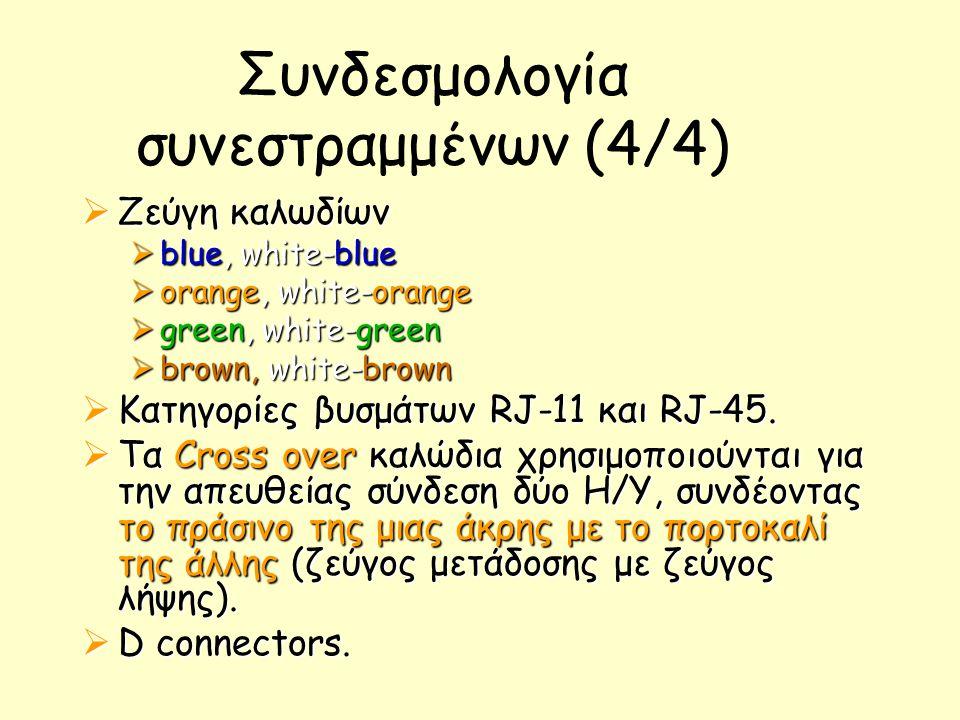 Συνδεσμολογία συνεστραμμένων (4/4)  Ζεύγη καλωδίων  blue, white-blue  orange, white-orange  green, white-green  brown, white-brown  Κατηγορίες β
