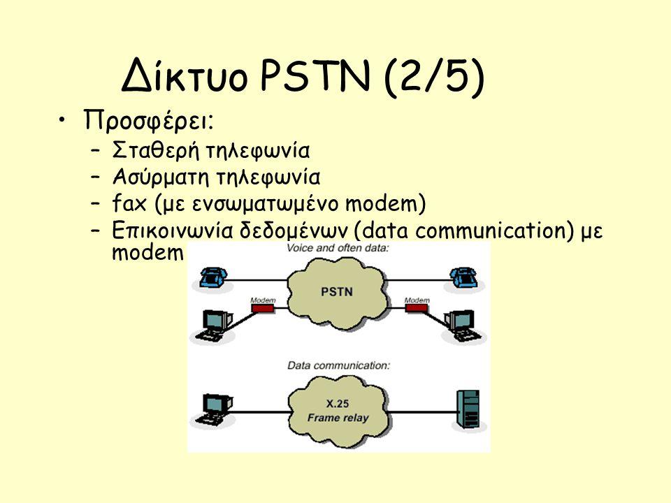 Δίκτυο PSTN (2/5) Προσφέρει : –Σταθερή τηλεφωνία –Ασύρματη τηλεφωνία –fax (με ενσωματωμένο modem) –Επικοινωνία δεδομένων (data communication) με modem