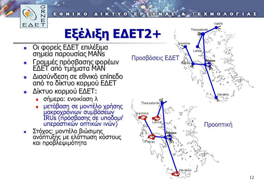 12 Εξέλιξη ΕΔΕΤ2+ Οι φορείς ΕΔΕΤ επιλέξιμα σημεία παρουσίας ΜΑΝs Οι φορείς ΕΔΕΤ επιλέξιμα σημεία παρουσίας ΜΑΝs Γραμμές πρόσβασης φορέων ΕΔΕΤ από τμήματα ΜΑΝ Γραμμές πρόσβασης φορέων ΕΔΕΤ από τμήματα ΜΑΝ Διασύνδεση σε εθνικό επίπεδο από το δίκτυο κορμού ΕΔΕΤ Διασύνδεση σε εθνικό επίπεδο από το δίκτυο κορμού ΕΔΕΤ Δίκτυο κορμού ΕΔΕΤ: Δίκτυο κορμού ΕΔΕΤ: σήμερα: ενοικίαση λ σήμερα: ενοικίαση λ μετάβαση σε μοντέλο χρήσης μακροχρόνιων συμβάσεων IRUs (πρόσβασης σε υποδομή υπεραστικών οπτικών ινών) μετάβαση σε μοντέλο χρήσης μακροχρόνιων συμβάσεων IRUs (πρόσβασης σε υποδομή υπεραστικών οπτικών ινών) Στόχος: μοντέλο βιώσιμης ανάπτυξης με ελάττωση κόστους και προβλεψιμότητα Στόχος: μοντέλο βιώσιμης ανάπτυξης με ελάττωση κόστους και προβλεψιμότητα Προοπτική Προσβάσεις ΕΔΕΤ