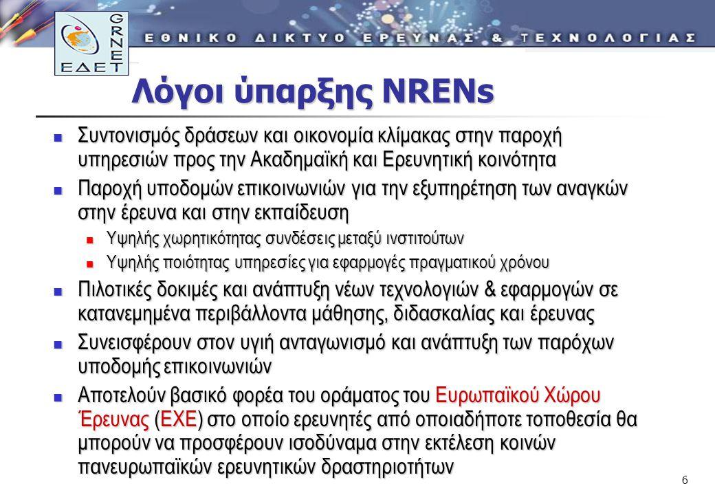 6 Λόγοι ύπαρξης NRENs Λόγοι ύπαρξης NRENs Συντονισμός δράσεων και οικονομία κλίμακας στην παροχή υπηρεσιών προς την Ακαδημαϊκή και Ερευνητική κοινότητα Συντονισμός δράσεων και οικονομία κλίμακας στην παροχή υπηρεσιών προς την Ακαδημαϊκή και Ερευνητική κοινότητα Παροχή υποδομών επικοινωνιών για την εξυπηρέτηση των αναγκών στην έρευνα και στην εκπαίδευση Παροχή υποδομών επικοινωνιών για την εξυπηρέτηση των αναγκών στην έρευνα και στην εκπαίδευση Υψηλής χωρητικότητας συνδέσεις μεταξύ ινστιτούτων Υψηλής χωρητικότητας συνδέσεις μεταξύ ινστιτούτων Υψηλής ποιότητας υπηρεσίες για εφαρμογές πραγματικού χρόνου Υψηλής ποιότητας υπηρεσίες για εφαρμογές πραγματικού χρόνου Πιλοτικές δοκιμές και ανάπτυξη νέων τεχνολογιών & εφαρμογών σε κατανεμημένα περιβάλλοντα μάθησης, διδασκαλίας και έρευνας Πιλοτικές δοκιμές και ανάπτυξη νέων τεχνολογιών & εφαρμογών σε κατανεμημένα περιβάλλοντα μάθησης, διδασκαλίας και έρευνας Συνεισφέρουν στον υγιή ανταγωνισμό και ανάπτυξη των παρόχων υποδομής επικοινωνιών Συνεισφέρουν στον υγιή ανταγωνισμό και ανάπτυξη των παρόχων υποδομής επικοινωνιών Αποτελούν βασικό φορέα του οράματος του Ευρωπαϊκού Χώρου Έρευνας (ΕΧΕ) στο οποίο ερευνητές από οποιαδήποτε τοποθεσία θα μπορούν να προσφέρουν ισοδύναμα στην εκτέλεση κοινών πανευρωπαϊκών ερευνητικών δραστηριοτήτων Αποτελούν βασικό φορέα του οράματος του Ευρωπαϊκού Χώρου Έρευνας (ΕΧΕ) στο οποίο ερευνητές από οποιαδήποτε τοποθεσία θα μπορούν να προσφέρουν ισοδύναμα στην εκτέλεση κοινών πανευρωπαϊκών ερευνητικών δραστηριοτήτων